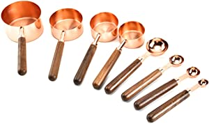 Measuring Cups, 8PCS Measuring Spoons and Cups with Walnut Handle Stainless Steel Measuring Cups & Spoons Engraved Measurements Measuring Cup Set for Baking Cooking Mixing Food Processing (Rose Gold)