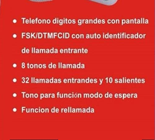 TELEFONO FIJO PANTALLA IDENTIFICADOR LLAMADAS PERSONAS MAYORES SOBREMESA DIGITOS TF-L22 ®: Amazon.es: Electrónica