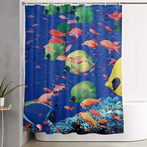 (Shower Curtain with 12 Hooks Fishing Lure Style, Water-Repellent Mold/Extra Long Window Curtain for Stalls and Bathtubs,Fishing Fish Bass Smallmouth Lake Blue Great Lakes,Fish Underwater Sea,60 X)
