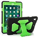 New iPad 9.7 2018/2017 Case, KIDSPR Lightweight Shockproof Rugged Cover with Stand Protective Full Body Rugged for Kids for New Apple iPad 9.7 inch 2018/2017 (6th Gen, 5th Gen) (Black/Green)
