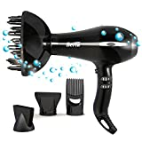 hair blow dryer with cap - BERTA 1875W Ceramic Tourmaline Hair Dryer Healthy Negative Ionic Blow Dryer 2 Speed & 3 Heat Settings Plus Cool Shot AC Motor with 4 professional Accessories (Black)
