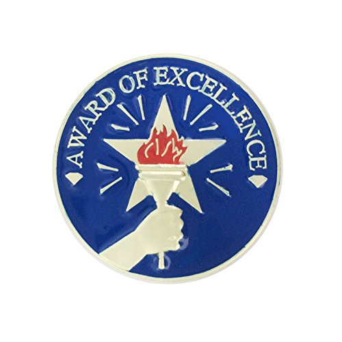 1 Inch Award of Excellence with Star, Hand, and Torch Enameled Lapel Pin - Package of 12, Poly Bagged