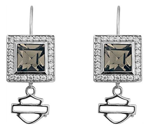 Harley-Davidson Womens Earrings, Black Ice Square Crystal Bling Earrings HDE0359 - Black Crystal Ice Square