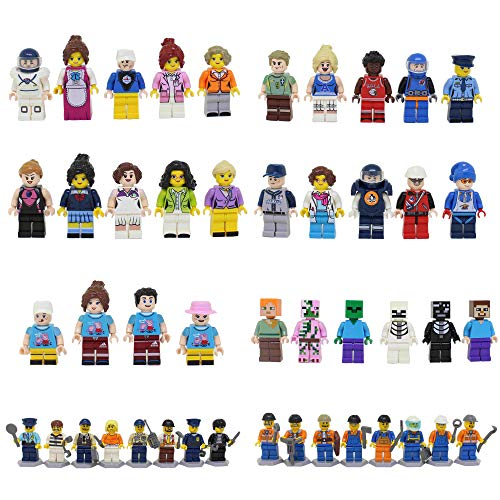 Homecoming Kids 46 Minifigures Building Bricks Community People with Accessories, Building Party Toys Gift