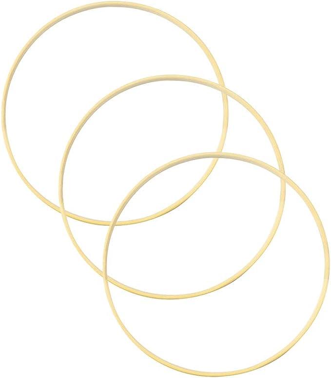 Vosarea Lot de 10 anneaux ronds en bambou pour attrape-r/êves Diam/ètre 15 cm