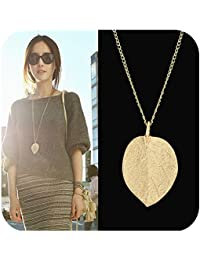 Costume Jewelry Gold Color Alloy Leaf Design Pendant Necklace for Women with Jewelry Pouch