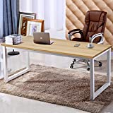 "63"" X-Large Computer Desk, Has Wide Workstation Tabletop for Writing,Games and Home Work,Modern Office Desk&Dining Table Made of The Finish Wood Board and Sturdy Steel Legs, Natural Oak"