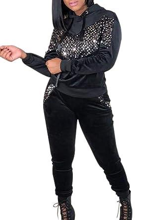 8b4361bfc4ff Women's 2 Piece Outfits Velvet Sequins Hoodies Sweatshirt and Long Skinny Pants  Tracksuit Set BL1 S