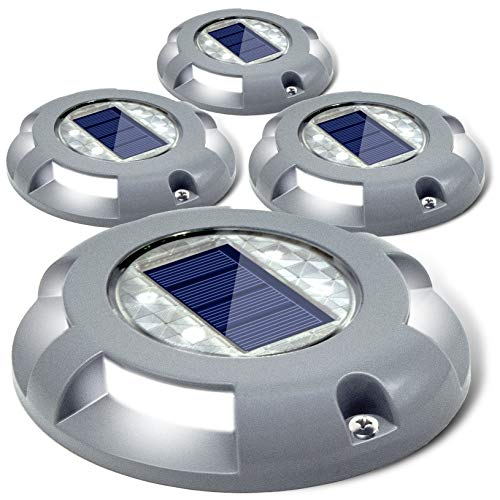 Siedinlar Solar Deck Lights Driveway Dock LED Light Solar Powered Outdoor Waterproof Road Markers for Step Sidewalk Stair Garden Ground Pathway Yard 4 Pack (White) (Cast Of Walking Tall With The Rock)
