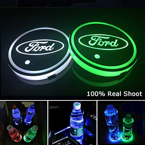 (AutoDIY Led Car Logo Cup Lights up Holder USB Charging Waterproof Bottle Drinks pad 7 Colors Changing Atmosphere Lamp mat Cars for Luminous Coasters 2PCS (for)
