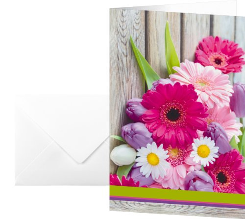 Sigel DS001 Motif Cards (incl. envelopes), Colorful, 4.53 x 6.69 inches (9.06 x 6.69 inches), 10 cards ()