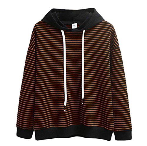 lunghe Acvip Maniche Nero Sweatshirt Donna arancione e PxwEqpOHx