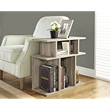 Monarch Specialties Dark Taupe Reclaimed-Look Accent Side Table, 24-Inch