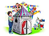 My Circus Tent Cardboard Playhouse - Large Corrugated Color In Coloring Play House for Kids - 3.5 Feet Tall - Easy Assembly, Fast Fold - by Spiritoy