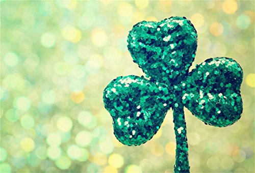 AOFOTO 7x5ft St Patrick's Day Background Lucky Clover Sequin Photography Backdrop Spring Shamrock Leprechaun Green Leaf Bokeh Photo Studio Props Baby Kid Artistic Portrait Abstract Vinyl Wallpaper from AOFOTO