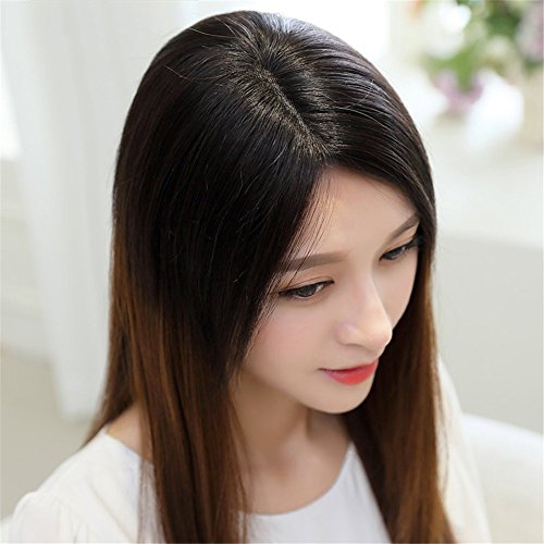 Remeehi Middle Part Real Human Hair Topper Clip in Hand Made Hair Top Piece for Thinning Hair (14inch Chestnut Brown) by Remeehi (Image #2)