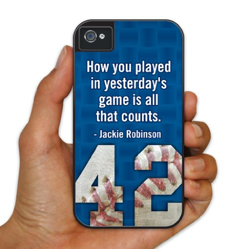 """iPhone 4/4s BruteBox Case - Baseball - Jackie Robinson Quote """"How you played"""" - 2 Part Rubber and Plastic Protective Case"""