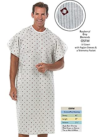 Amazon Nobles Health Care Raspberry With Gray Diamond Print IV Unique Hospital Gown Pattern