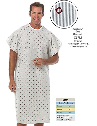 Nobles Health Care Raspberry With Gray Diamond Print IV Angle Back Hospital Gown Pack 4 ()
