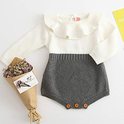 Baby Girls Winter Knit Romper Bodysuit Long Sleeve Ruffle Jumpsuit Birthday Outfit