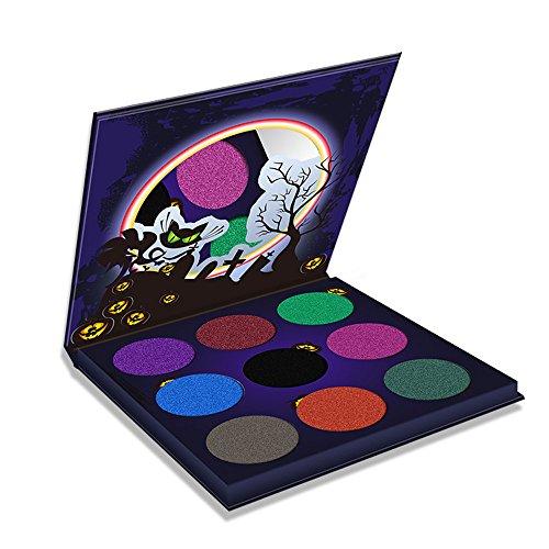 Eyeshadow Palette Hosamtel Halloween Pumpkin Head Eye Shadow Body Painted 9 Colors Powder Set Party Makeup Long-Lasting ()
