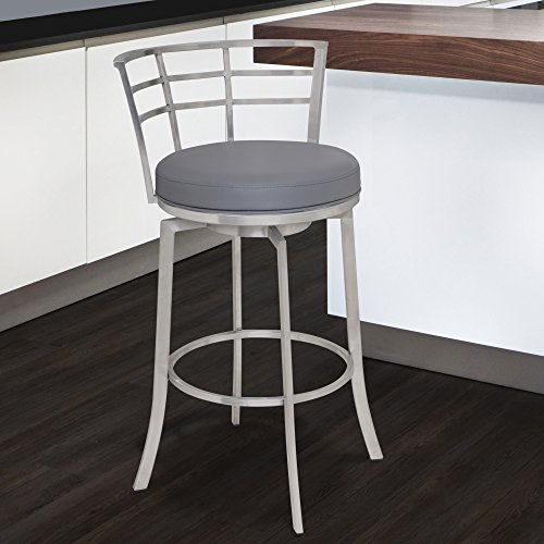 "Armen Living LCVI26BAGR Viper 26"" Counter Height Swivel Barstool in Grey Faux Leather and Brushed Stainless Steel Finish"