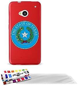 """Carcasa Flexible Ultra-Slim HTC ONE de exclusivo motivo [Escudo Texas] [Roja] de MUZZANO  + 3 Pelliculas de Pantalla """"UltraClear"""" + ESTILETE y PAÑO MUZZANO REGALADOS - La Protección Antigolpes ULTIMA, ELEGANTE Y DURADERA para su HTC ONE"""