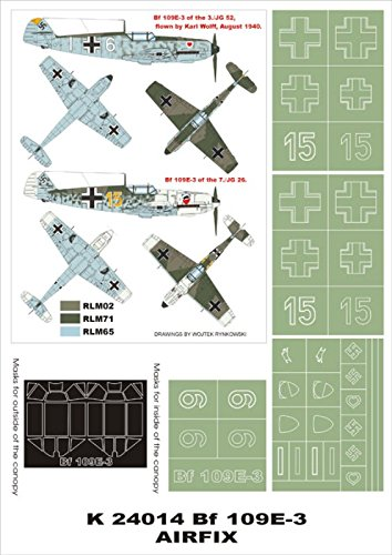 Montexスーパーマスク1 : 24 bf-109 E - 3 forエアフィックス# 1 Spraying Stencil # k24014   B01FURBLFA