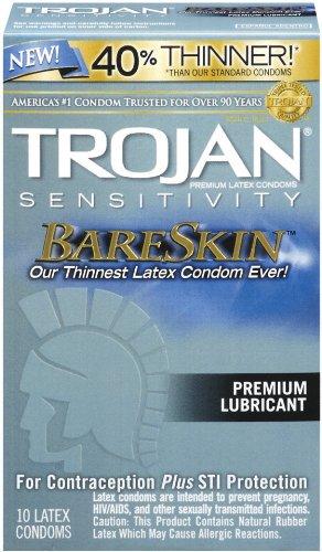 Trojan Sensitivity Bareskin Lubricated, Latex Condoms, 10-count, Health Care Stuffs