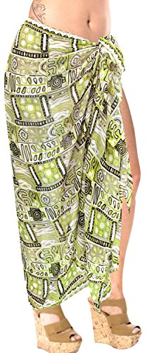 LA LEELA Wrap Sarong Cover up Pareo Beachwear Bathing Suit Swimwear Swimsuit Women Green
