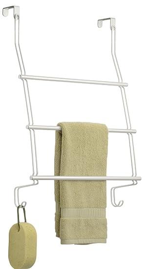 mDesign Toallero colgante para puerta o armario - Colocación sin taladrar - Portatoallas para cocina o