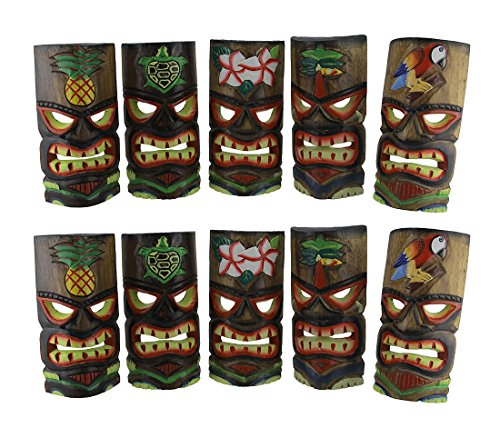 Wood Decorative Masks Set Of 10 Polynesian Tiki Style Wall Masks 10 Inches 3.5 X 9.75 X 4.75 Inches Multicolored