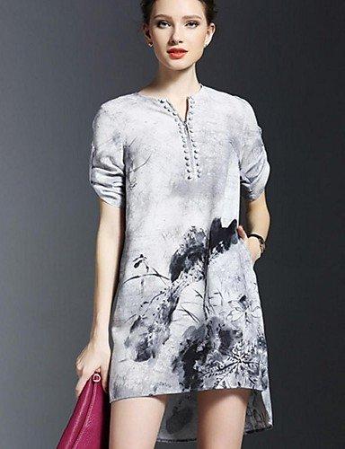 PU&PU Robe Aux femmes Ample Street Chic,Imprimé Col Arrondi Au dessus du genou Nylon , gray-xl , gray-xl