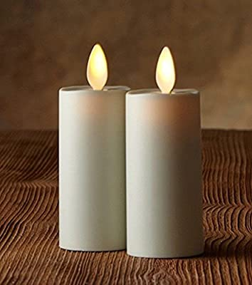 """Luminara - 1.75"""" x 3"""" Ivory (Unscented) Votive Realistic Flame LED Plastic Candle Light With Timer (2 Pack)"""