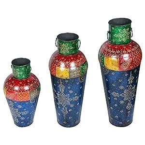 Salalah Metal Flower Pot Set Of 3, Blue And Red
