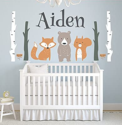 Custom Woodland Animals Name Wall Decal Forest Nursery Baby Room Mural Art Decor Vinyl Sticker LD10