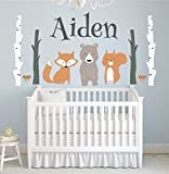 Custom Woodland Animals Name Wall Decal Forest Nursery Baby Room Mural Art Decor Vinyl Sticker LD10 (52''W x 26''H)