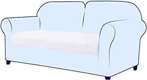 subrtex Spandex Elastic Embrossed Couch Loveseat Stretch Durable Chair Sofa Cushion Covers Slipcover Furniture Protector Slip Cover for Settee Sofa Seat in Living Room for Replacement (Pure White)