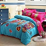 Joubuy Home Textile Cute Owl Love Bedding Owl Bedding for Girls Queen Twin Size Duvet Cover Set Queen Twin Size 4 Pieces 100% Cotton (Queen)