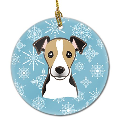 Jack Russell Christmas Cards - Caroline's Treasures BB1695CO1 Snowflake Jack Russell Terrier Ceramic Ornament, Multicolor