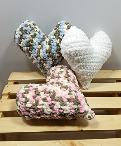 Crochet Mini Plush Heart Accent Pillow – Valentine's Day Decor by Shay's Crochet Creation