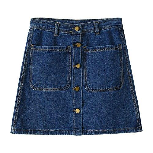 avec Jupes Pencil pour Denim en Fonc Bleu Femme Jupe Jupe Stretch Basiques Oudan Denim Bouton Short g57wx8qnCY