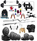 Bodyfit Bf-30 Kg Weight Plates,5Ft Rod,3Ft Rod,2 D.Rods Home Gym Dumbell Set.