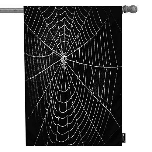 Moslion Halloween House Flag Horror Spider Web Net with Raindrop Dew Scary Insect Bat Garden Flags 28x40 Inch Double-Sided Banner Welcome Yard Flag Home Outdoor Decor. Lawn Villa]()