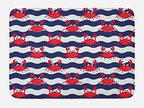 Ambesonne Crabs Bath Mat, Nautical Maritime Theme Cute Crabs on Striped Background Illustration Print, Plush Bathroom Decor Mat with Non Slip Backing, 29.5 W X 17.5 W Inches, Red and Navy Blue