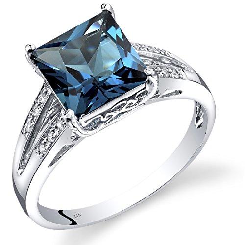 Peora 14K White Gold London Blue Topaz Diamond Ring Princess Cut 3 Carats Total