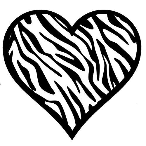 "X2 Zebra Heart Decal Animal Print 100% Waterproof Sticker 4"" Inch Square"