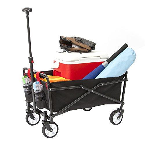 - YSC Wagon Garden Folding Utility Shopping Cart,Beach (Black)