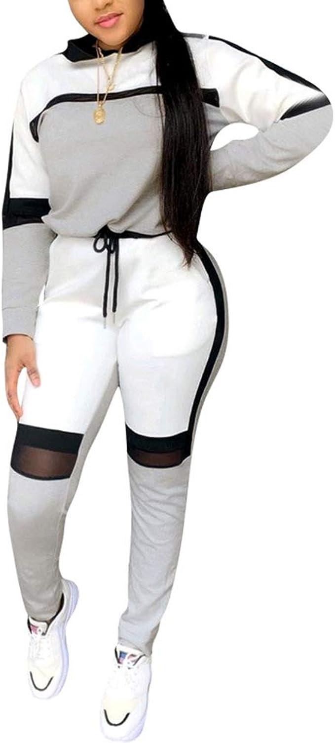 hibote Traje Deportivo Mujer Moda Patchwork Chándal con Capucha ...