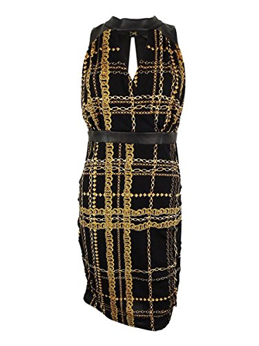 Chain Print Halter - Thalia Sodi Womens Chain Print Halter Clubwear Dress Black L